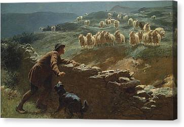 Briton Riviere Canvas Print - The Sheepstealer by Briton Riviere
