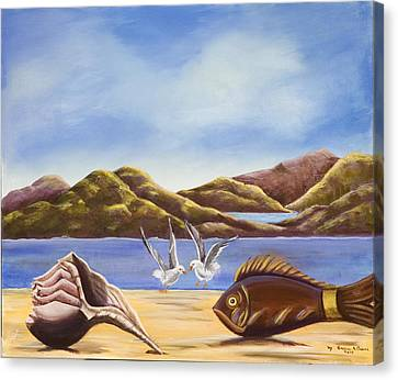 Canvas Print featuring the painting The Shell The Fish The Sea by Susan Culver