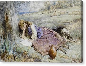 The Shepherdess Canvas Print by Myles Birket Foster