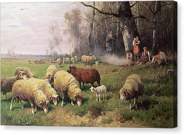 The Shepherds Family Canvas Print by Adolf Ernst Meissner