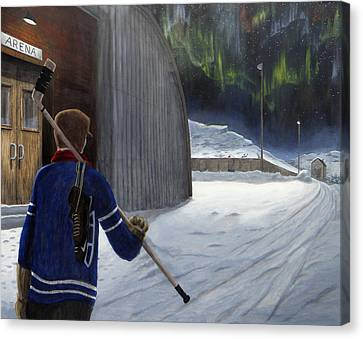 The Shinny Player Canvas Print by Dave Rheaume
