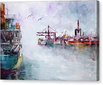 Canvas Print featuring the painting The Ship At Harbor Entrance by Faruk Koksal