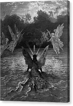 The Ship Continues To Sail Miraculously Moved By A Troupe Of Angelic Spirits Canvas Print by Gustave Dore