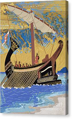 Yachts Canvas Print - The Ship Of Odysseus by Francois-Louis Schmied