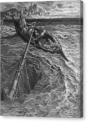 Stormy Canvas Print - The Ship Sinks But The Mariner Is Rescued By The Pilot And Hermit by Gustave Dore