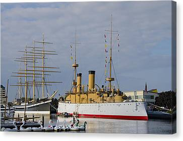 The Ships At Penns Landing Canvas Print by Bill Cannon
