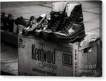 The Shoeshine Man's Shoes Canvas Print by Kathleen K Parker