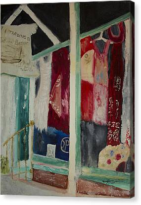 Canvas Print featuring the painting The Shop In New Paltz by Aleezah Selinger