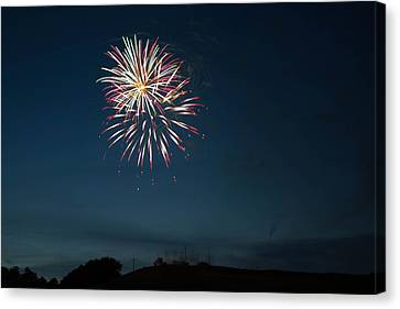 Pyrotechnic Canvas Print - West Virginia Day Fireworks Show Begins by Howard Tenke