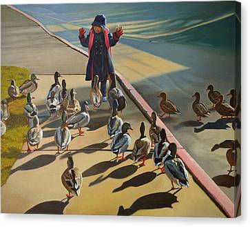 Canvas Print featuring the painting The Sidewalk Religion by Thu Nguyen
