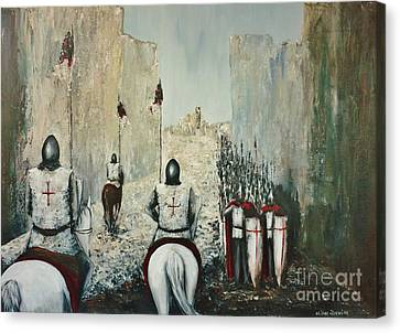 The Siege Of Ascalon Canvas Print by Kaye Miller-Dewing