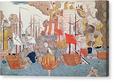 Water Vessels Canvas Print - The Siege Of Navarino by French School