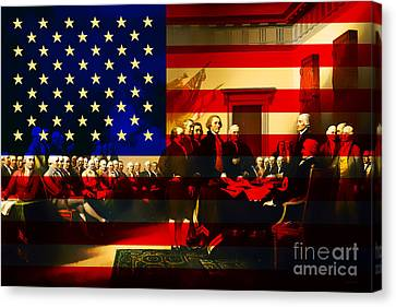 The Signing Of The United States Declaration Of Independence And Old Glory 20131220 Canvas Print by Wingsdomain Art and Photography