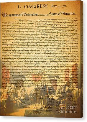 The Signing Of The United States Declaration Of Independence Canvas Print by Wingsdomain Art and Photography