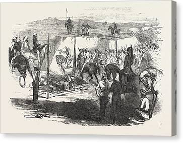 Sikh Art Canvas Print - The Sikh Cavalry Deliveling Up Their Arms At Rawul Pindee by English School
