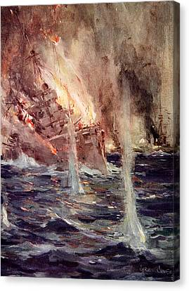 The Sinking Of The Gneisenau Canvas Print by Cyrus Cuneo