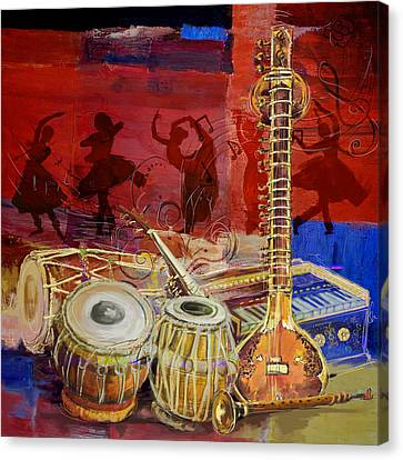 The Sitar Dhol Tabla And Harmonium Canvas Print