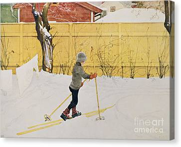 The Skier Canvas Print by Carl Larsson