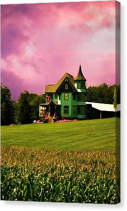 Side Porch Canvas Print - The Sky Over A Queen Anne Victorian  by Chastity Hoff