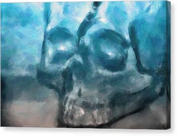 Skull In Rose Canvas Print - The Skull by Tommytechno Sweden