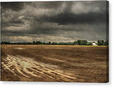 Barn Storm Canvas Print - The Sky In The Tire Tracks by William Fields