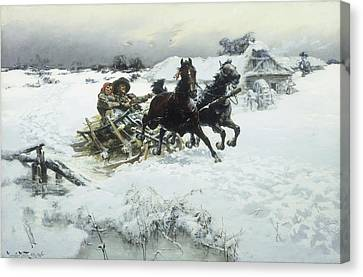The Sleigh Ride Canvas Print by Jaroslav Friedrich Julius Vesin