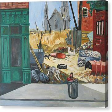 Canvas Print featuring the painting The Slum Dogs by Linda Novick