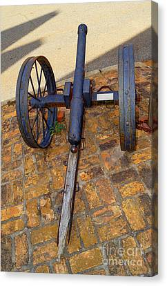 The Small Cannon Outside On The Sidewalk In Downtown Andersonville Georgia Canvas Print
