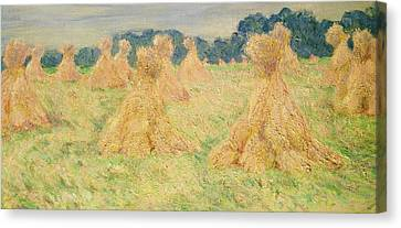 Meules Canvas Print - The Small Haystacks by Claude Monet