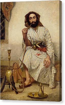 Old Man With Beard Canvas Print - The Smoker by R L Alldridge