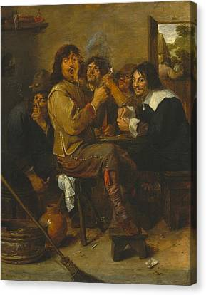 The Smokers Canvas Print by Adriaen Brouwer
