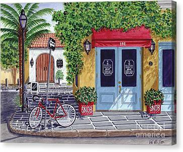 Canvas Print featuring the painting The Snob Restaurant by Val Miller