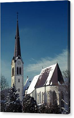 The Snow And The Church Canvas Print by Antonio Castillo