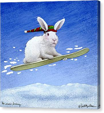 Snowboarding Canvas Print - The Snow Bunny... by Will Bullas