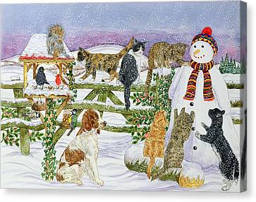 The Snowman And His Friends  Canvas Print