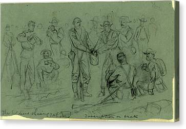 Sharing Canvas Print - The Soldiers Sharing Rations, Drawing, 1862-1865 by Quint Lox