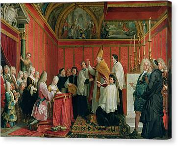 The Solemnization Of The Marriage Of Prince James Francis Edward Stuart 1688-1766 And Princess Canvas Print by Agostino Masucci