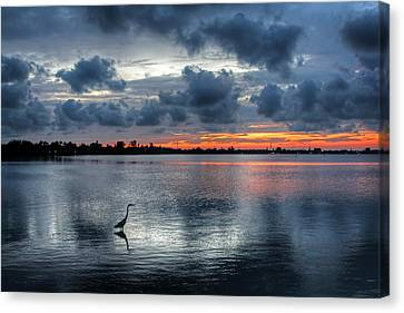 The Solitary Fisherman - Florida Sunset Canvas Print by HH Photography of Florida