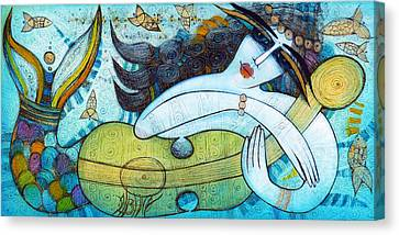 The Song Of The Mermaid Canvas Print by Albena Vatcheva