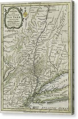 The Southern Part Of The Province Of New York Canvas Print by Thomas Kitchin