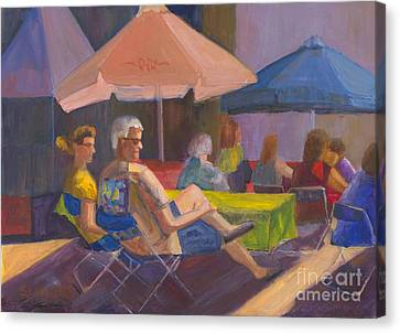 Canvas Print featuring the painting The Spectators by Sandy Linden