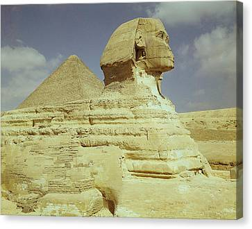 The Sphinx And The Great Pyramid Of Khufu At Giza, Old Kingdom, C.2613-2494 Bc Photo See Also 59243 Canvas Print by Egyptian 4th Dynasty