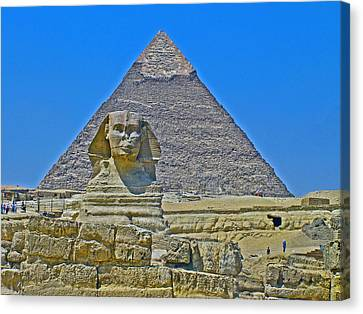 The Sphinx In Front Of Chephren Pyramid On Giza Plateau Near Cairo-egypt Canvas Print by Ruth Hager