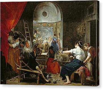 Tapestries - Textiles Canvas Print - The Spinners, Or The Fable Of Arachne, 1657 Oil On Canvas For Detail See 36741 by Diego Rodriguez de Silva y Velazquez