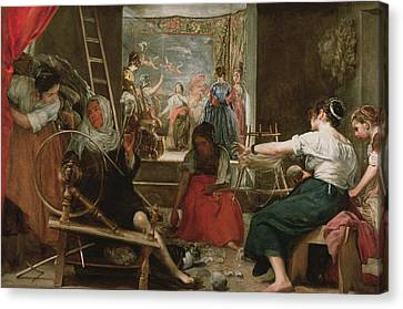 Tapestries - Textiles Canvas Print - The Spinners, Or The Fable Of Arachne, 1657 Oil On Canvas See 91618 For Fully Restored Version by Diego Rodriguez de Silva y Velazquez