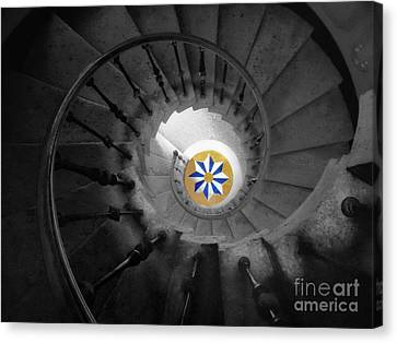 The Spiral Staircase Of Villa Vizcaya Bwcolor Canvas Print by Mike Nellums