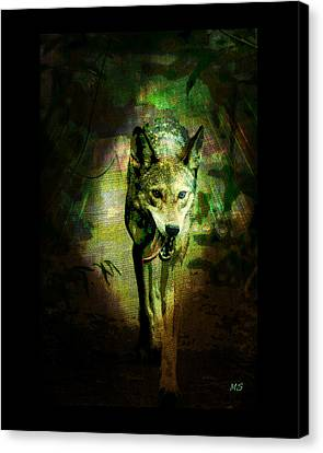 Canvas Print featuring the digital art The Spirit Of The Wolf by Absinthe Art By Michelle LeAnn Scott
