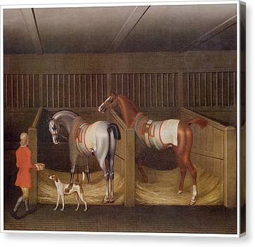Horse Stable Canvas Print - The Stables And Two Famous Running Horses by James Seymour