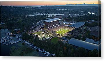 Husky Stadium And The Needle Canvas Print