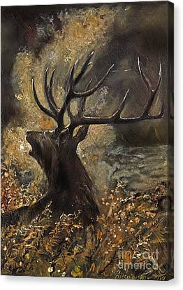 the Stag sitting in the grass oil painting Canvas Print by Angel  Tarantella